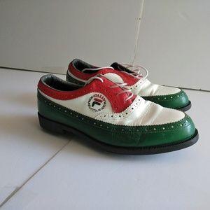 Vtg Fila Classic Italia Golf Shoes Metal Spikes